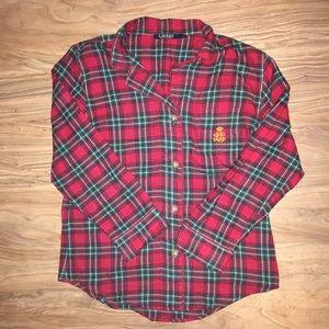 Lauren RL Christmas Red Flannel Pajama Shirt